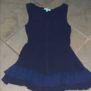 The Arte by Zenana blue tank w/ ruffles & buttons
